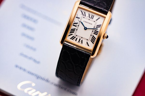 Cartier Man's Tank Solo 18K YG ref 3167 circa 2010's Box & Papers