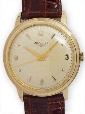 Longines 14K YG Oversize Guilloche Dial circa 1950's
