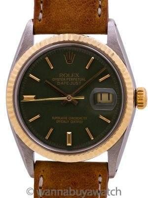 "Rolex Datejust ref 1601 SS/14K YG ""Army Green"" circa 1966"