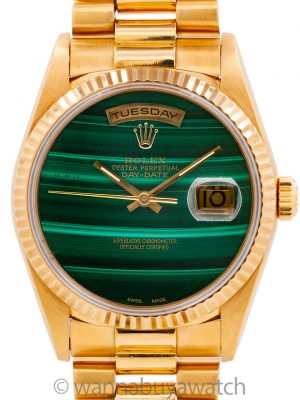 Rolex Day Date President 18K YG ref 18038 circa 1978 Custom Malachite Dial