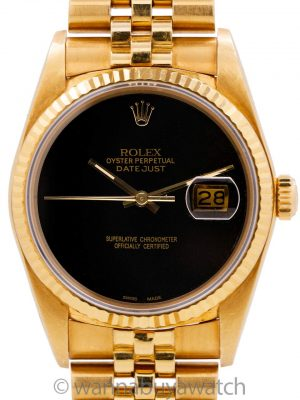 Rolex Datejust 18K YG ref 16018 Onyx Dial circa 1980 Sticker!