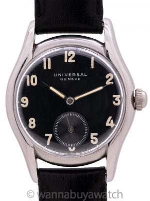 Universal Geneve Gloss Black Military Dial circa 1940's