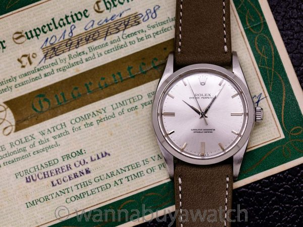 Rolex Oyster Perpetual ref 1018 36mm circa 1967 with Chronometer Certificate