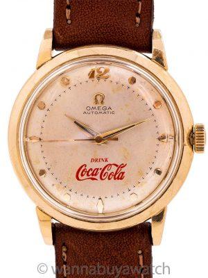 Omega Automatic 14K YG Gold Coca Cola 1/4 Century Club Presentation circa 1950