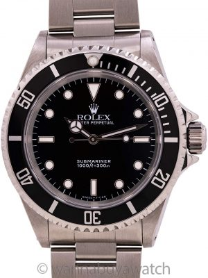 Rolex Submariner ref 14060 Tritium circa 1991 Service Papers
