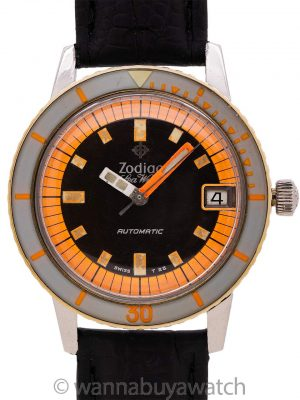 "Zodiac Seawolf Automatic ""Orange Blaze"" circa 1960's"