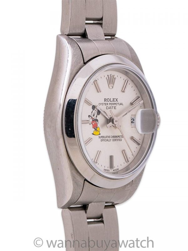 Lady Rolex Oyster Perpetual Date ref 79160 Mickey Mouse circa 2003 Papers