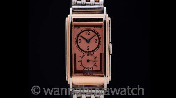 Rolex Prince Railway 18K WG/PG Bi-Color ref 1527 with SS/PG Beads of Rice