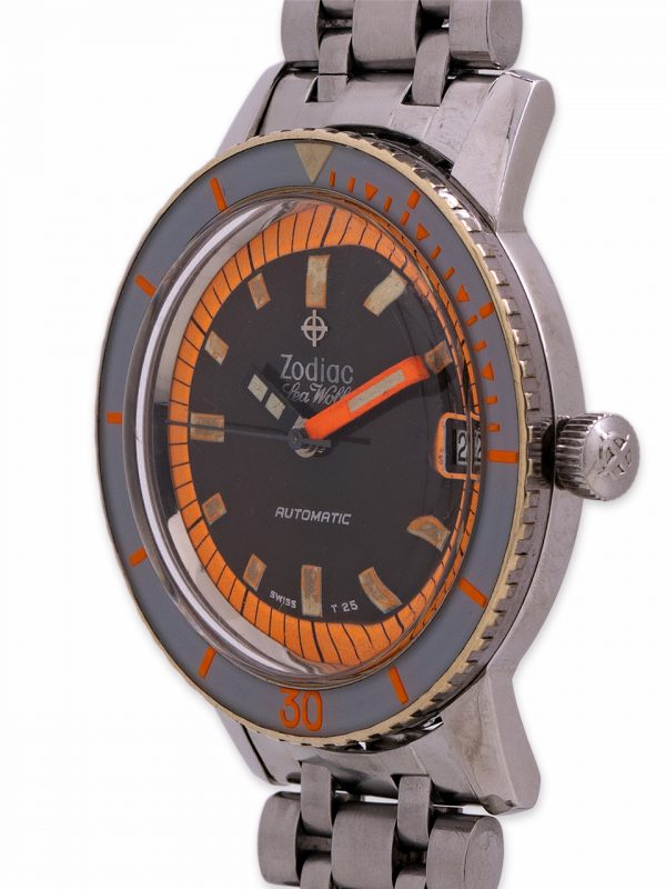 """Zodiac Sea Wolf ref 1781W """"Orange Blaze"""" Tropical circa 1960's"""