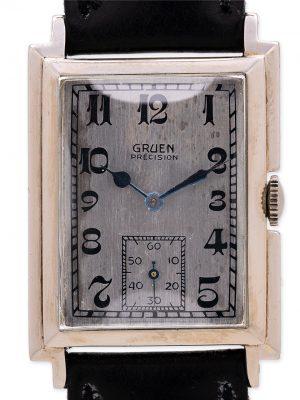 Gruen Weber 18K WG Quardron circa 1930's