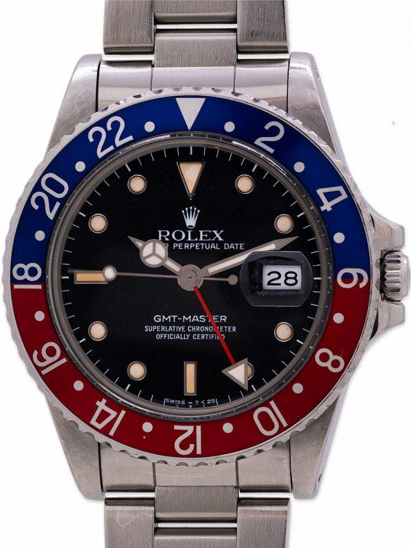 """Rolex GMT ref 16750 Pepsi """"Frozen"""" Tritium Dial circa 1987"""