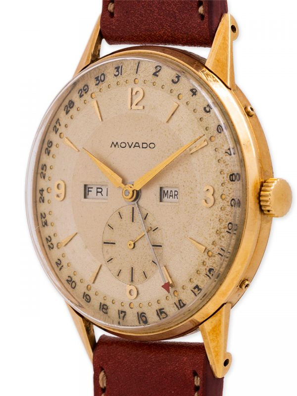 Movado 3X Calendar 18K YG circa circa 1950's