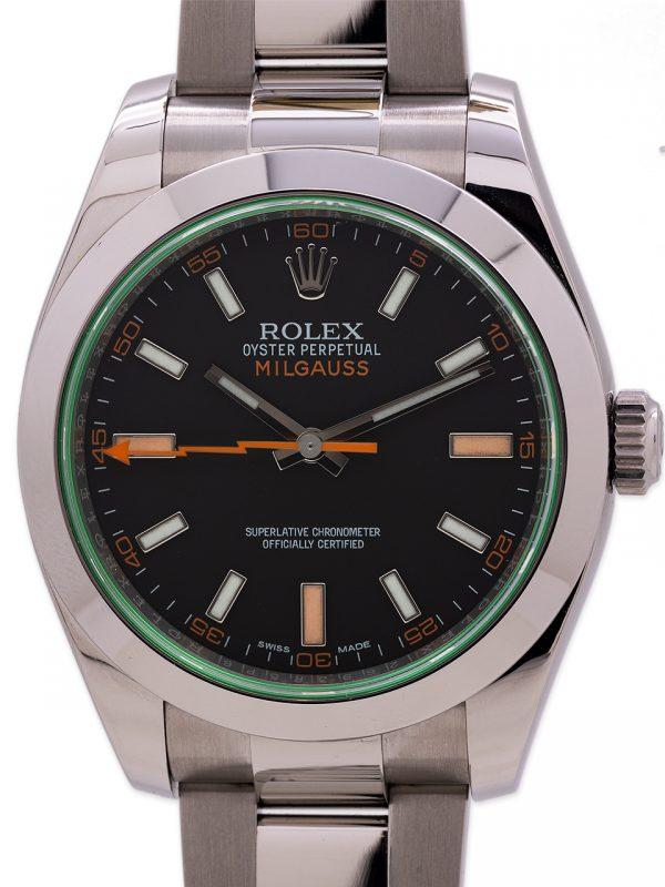 Rolex SS Milgauss ref# 116400GV Green Crystal 2016 Box & Card +