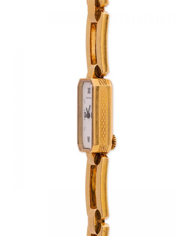 Cartier Paris 18K YG Sophisticated Back Wind on Bracelet circa 1960's