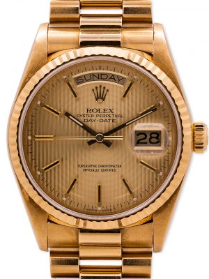 Rolex Day Date President 18K YG ref 18038 circa 1987 Tapestry Dial Mint!