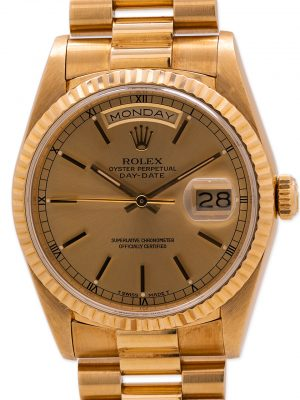 Rolex Day Date President 18K YG ref 18238 Double Quick circa 1989 with Papers