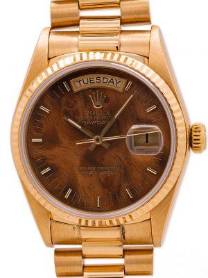 Rolex Day Date President 18K YG ref 18038 circa 1985 Walnut Burlwood Dial