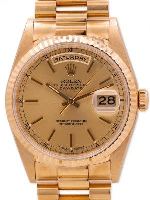 Rolex Day Date President 18K YG ref 18238 Double Quick circa 1996 Sticker