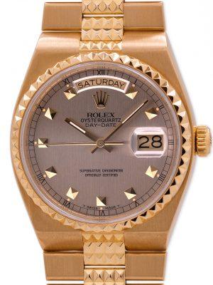 """Rolex 18K YG Oyster Quartz Day Date """"Pyramid"""" ref 19028 circa 1986"""
