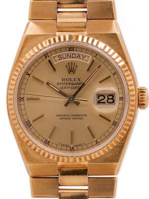 Rolex 18K YG Oyster Quartz Day Date  ref 19018 circa 1979